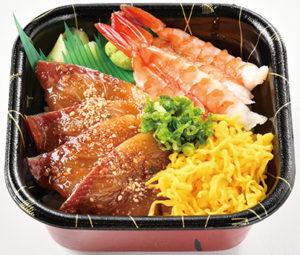 ごまブリ蒸し海老丼